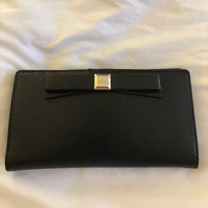 Authentic Kate Spade wallet black leather Bow